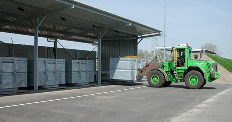 Dekowood onder de drooginstallatie bij BioEnergie Twente